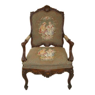 French / Provincial Heavily Carved Walnut Large Arm Chair