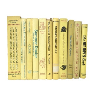 Mid-Century Yellow Decorative Books - Set of 11
