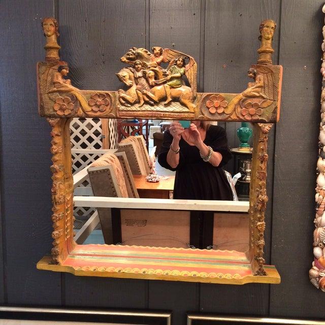 Jo Meade Striking Artisan Carved Mirror - Image 2 of 5