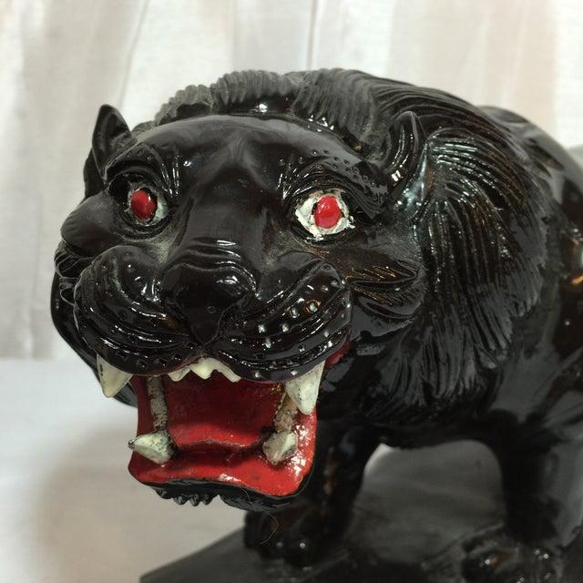 Vintage Hand-Carved Wooden Black Panthers - Pair - Image 4 of 8