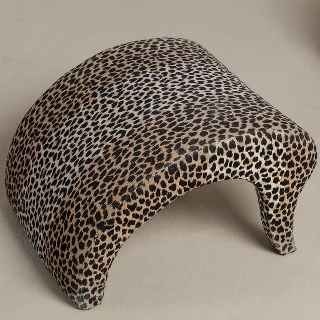 Image of A Leopard Print Chair and Stool by Vladimir Kagan