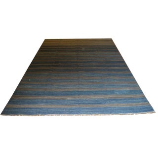 Blue Striped Kilim Rug - 6′1″ × 9′11″
