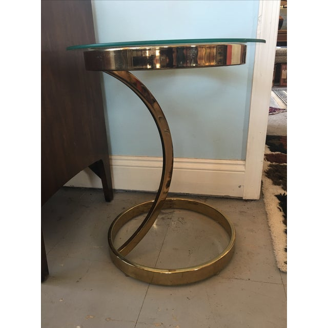 Image of Vintage Milo Baughman Style Brass Side Table