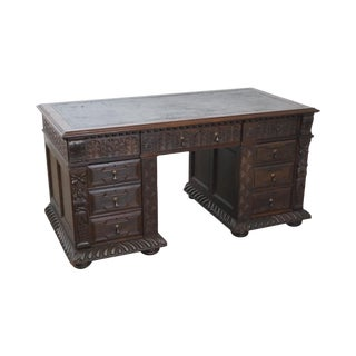 Antique Jacobean Revival Carved Oak Leather Top Desk