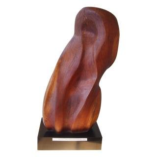 Modernist Walnut Wood Sculpture