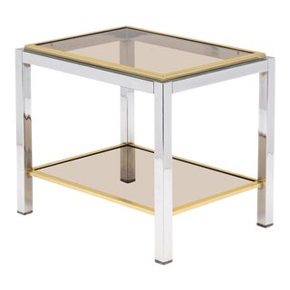 French Modernist Chrome and Brass Side Table
