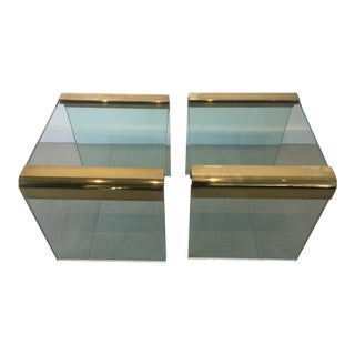 Leon Rosen Glass Waterfall Side Tables - A Pair