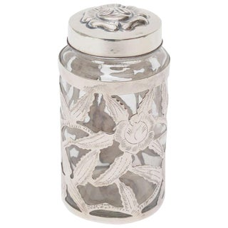 Mexican Sterling Silver Overlay Glass Vesssel/ Container Jar