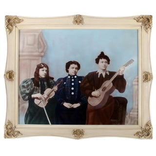 Antique Ladies' String Band Hand-Colored Photograph