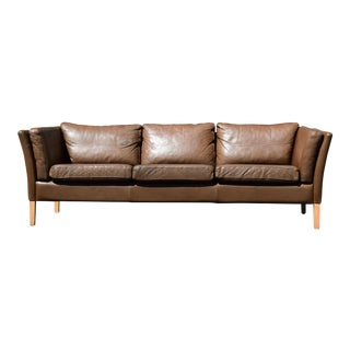 Danish Leather Borge Mogensen Style Sofa