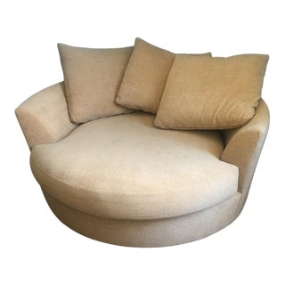 Large Circular Beige Lounge Chair & 3 Pillows