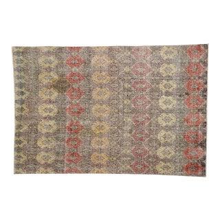 Zeki Muren Distressed Vintage Turkish Sivas Rug - 6′ × 6′11″