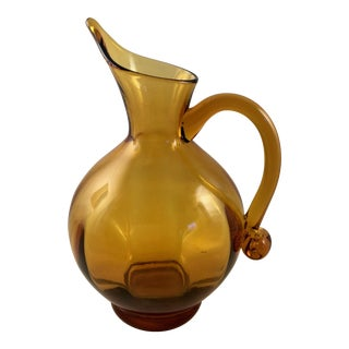 Mid-Century Amber Glass Pitcher