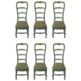 French Louis XV Style Robin's Egg Blue Chairs - Set of 6