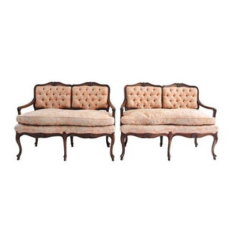 French Country Fruitwood Tufted Settees - A Pair