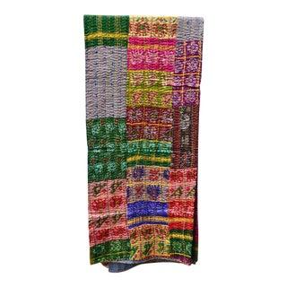 Handmade Woven Silk Sari Kantha Quilt