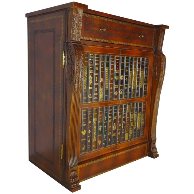 Maitland Smith Leather Faux Book Cabinet - Image 1 of 11