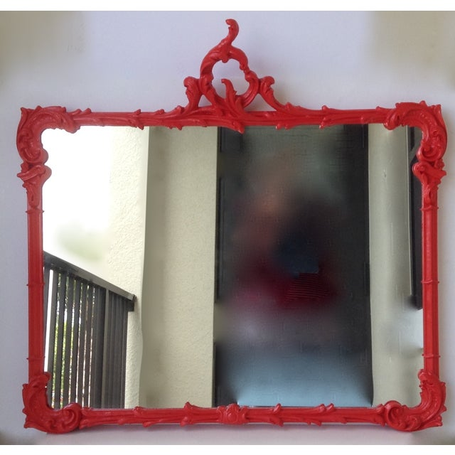 Antique French Red Lacquered Mirror - Image 2 of 11