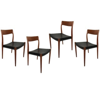 Set of Four Niels Otto Moller Number 77 Teak and Leather Dining Chairs