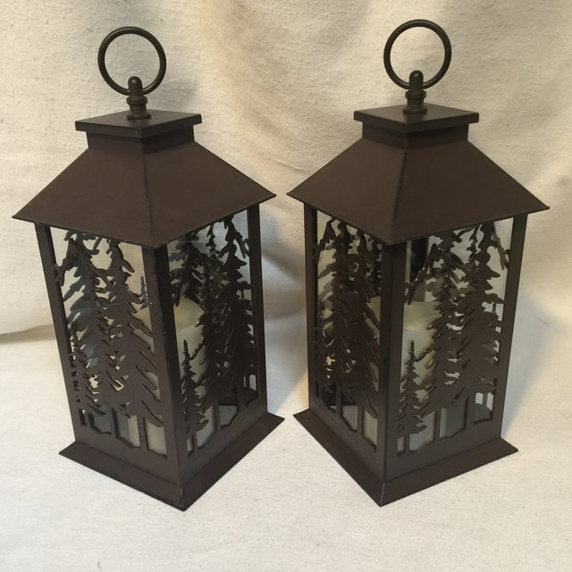 Metal & Glass Forest Silhouette Lanterns - A Pair - Image 5 of 10