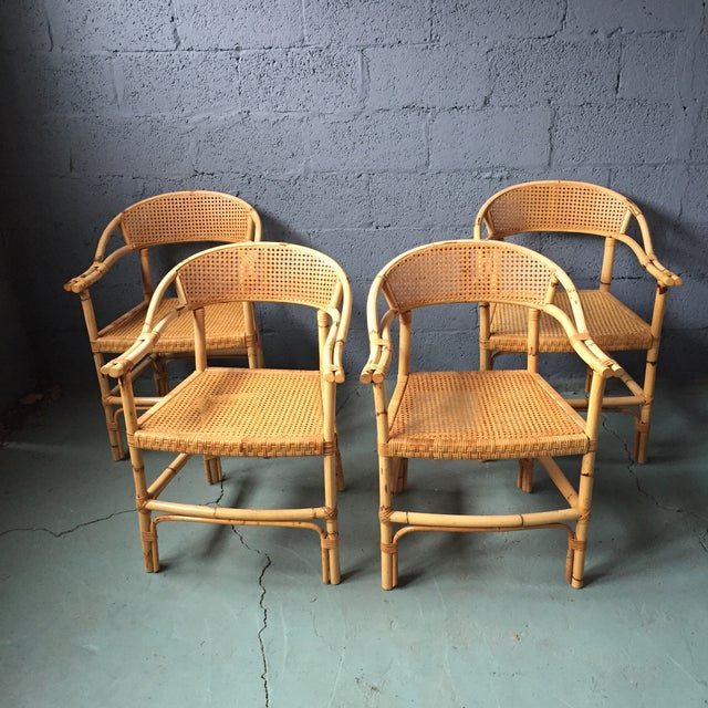 Bamboo and Cane Dining Chairs - Set of 4 - Image 2 of 11