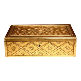 French Carved Wooden Jewelry Box With Gilt Finish