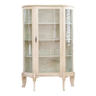 Vintage White Curio Display Cabinet