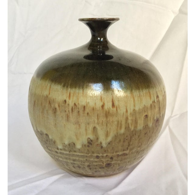 Vintage Ceramic Weed Pot in Olive Green and Earth Tones - Image 6 of 11