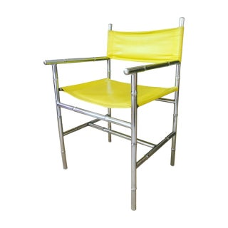 Mid-Century Chrome Arm Chair in Yellow