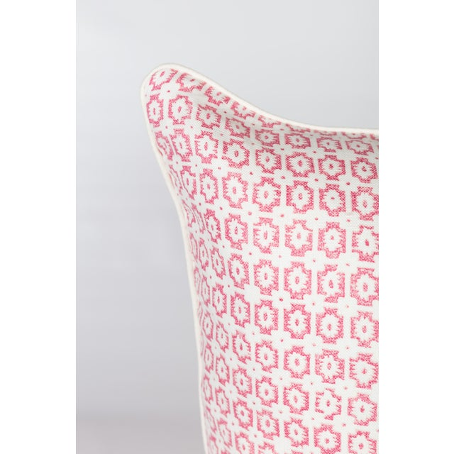 Custom Pink & Ivory Linen Ogee Pillows - A Pair - Image 2 of 5