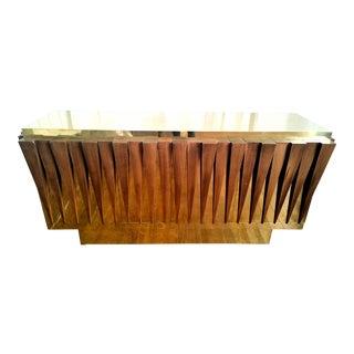 Italian hand crafted brass & wood mid century modern sideboard
