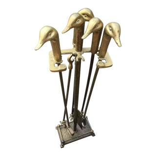 Antique English Duck Head Fireplace Tools - Set of 5