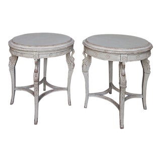 Pair of Side Tables with Carved Swans (#52-08)