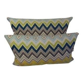 Schumacher Missioni Style Zig-Zag Pattern Lumbar Pillows- A Pair
