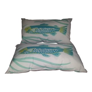 Turquoise Blue Nautical Fish Pillows - a Pair