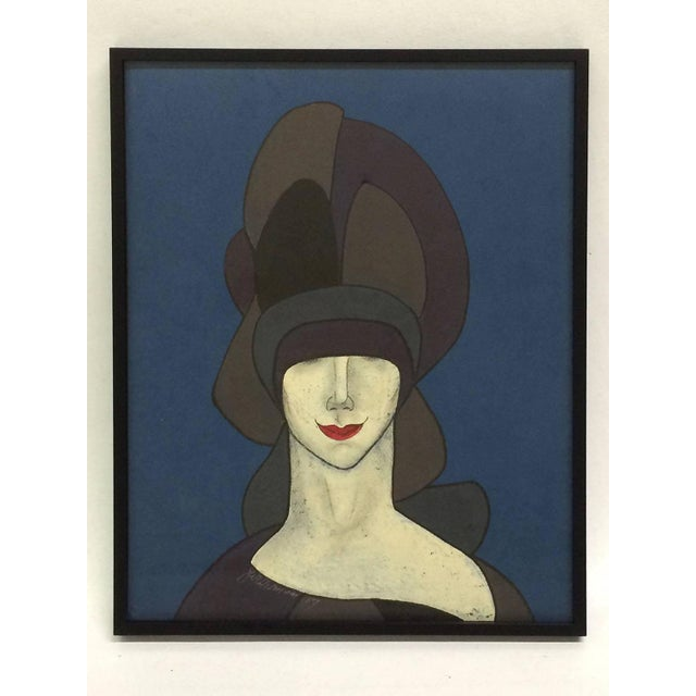Witty Portait of Woman in Hat & Red Lips - Image 2 of 5