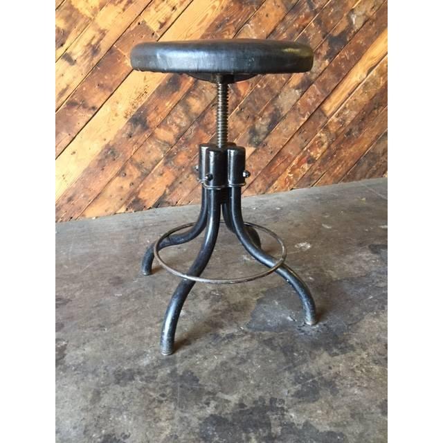 Vintage Industrial Black Vinyl Stool - Image 4 of 4