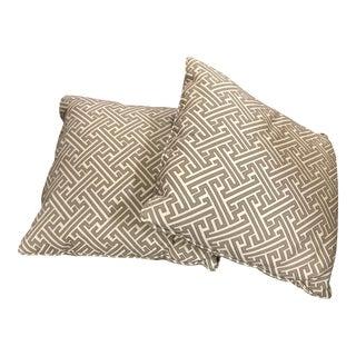 White & Gray Raised Geometric Pillows - A Pair