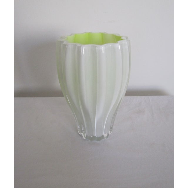 White And Neon Yellow Crystal Vase - Image 2 of 7
