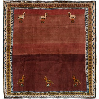 "Handmade Persian Gabbeh Rug - 6'5"" x 6'8"""
