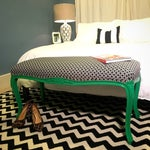 Image of Geometric Upholstered Bench With Green Legs