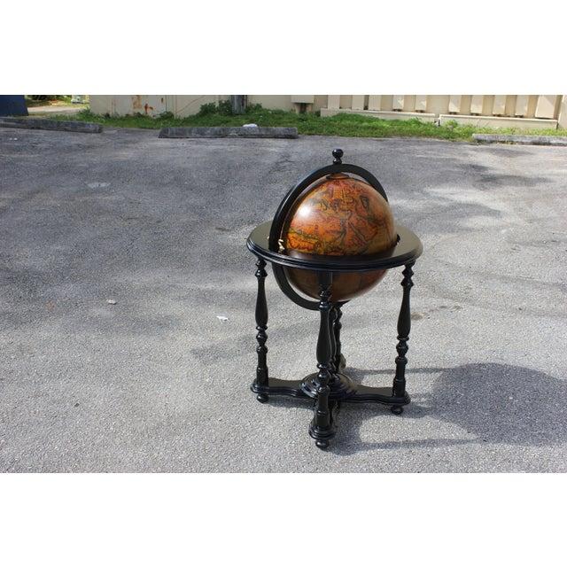 French Mid-Century Solid Mahogany World Globe Bar - Image 10 of 11