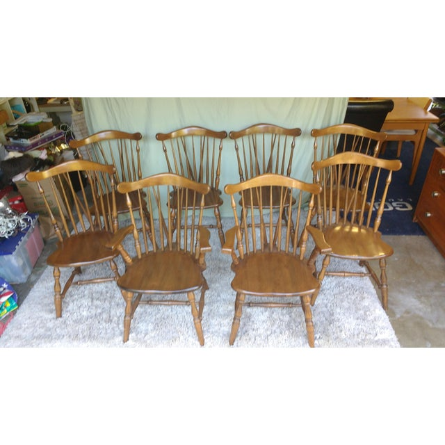 Antique Heirloom Fiddle Back Chairs - Set of 8 - Image 4 of 7