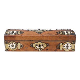 19th C. Brass & Bone Mounts Walnut Box