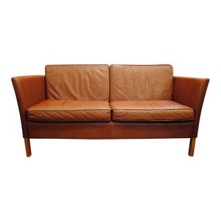 Danish Modern Leather Love Seat