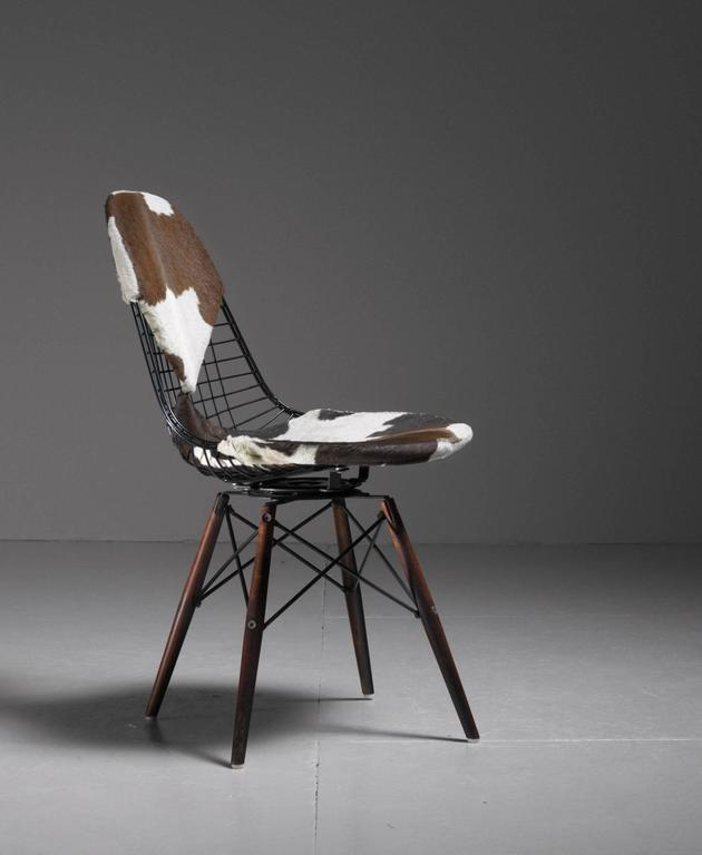 distinguished eames dkw wire chair with unique cowskin bikini seat