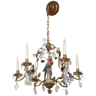Louis XV Style Bronze Chandelier with Meissen Parrot, Crystal Plums and Flowers