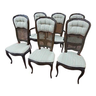 Henredon French Style Cane Dining Chairs - Set of 6