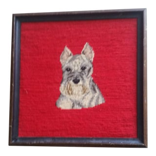 Handmade Framed Dog Needlepoint of Terrier