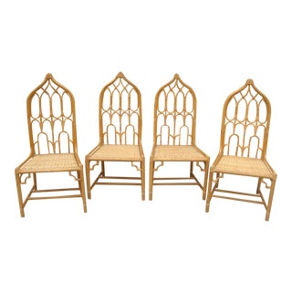 McGuire Style Rattan Dining Chairs - Set of 4